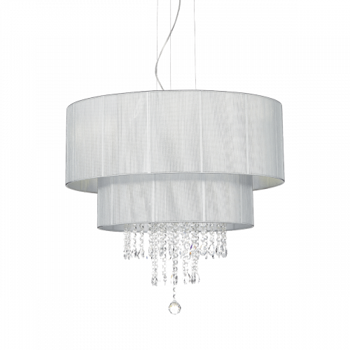 Ideal Lux 122601 Opera Crystal 6 Light Pendant Silver Shade Polished Chrome Frame