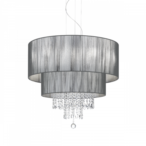 Ideal Lux 103327 Opera Crystal 6 Light Pendant Black Shade Polished Chrome Frame