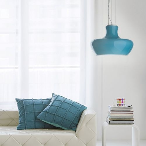 Ideal Lux 137261 Aladino 1 Light Pendant Blue Shade Satin White Frame