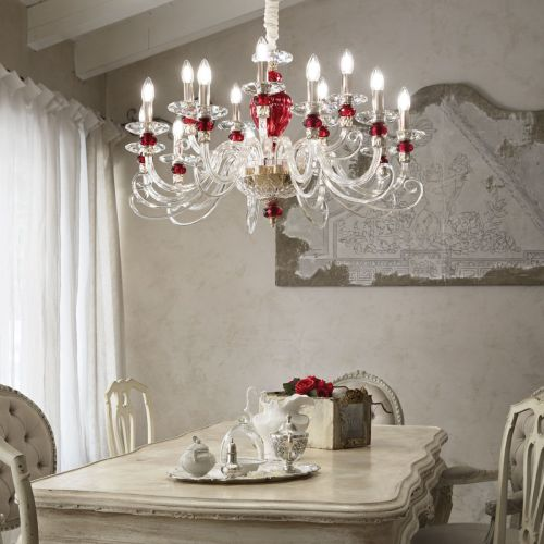 Ideal Lux 168289 Baronet Crystal Glass 15 Light Chandelier Gold Frame