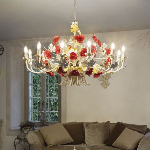 Ideal Lux 173917 Camilla 12 Light Chandelier Red Frame