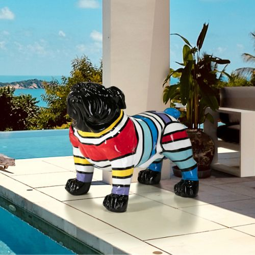 Bulldog Large Multi Coloured Figurine Black Face