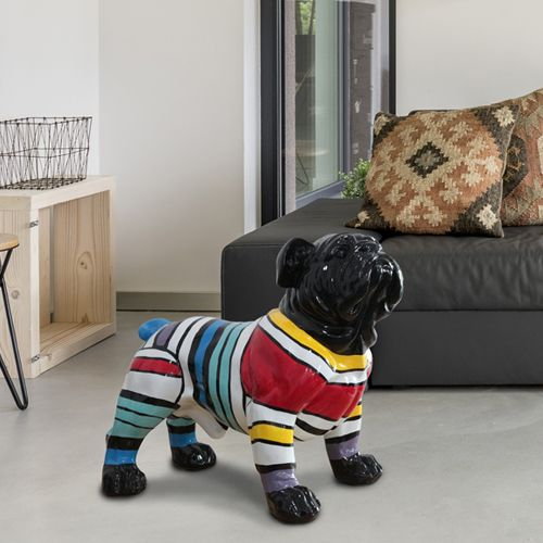 Bulldog Medium Multi Coloured Figurine Black Face