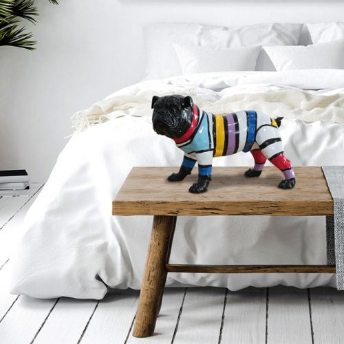 Bulldog Small Multi Coloured Figurine Black Face
