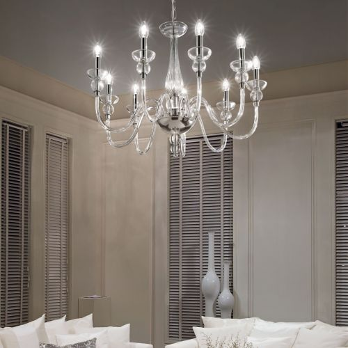 Ideal Lux 044453 Doge 9 Light Chandelier Clear Glass Frame
