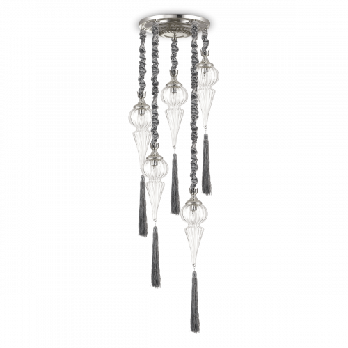 Ideal Lux 139586 Hammam 5 Light Spiral Pendant Silver Finish