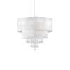 Ideal Lux 182179 Opera Crystal 4 Light Pendant Polished Chrome Frame