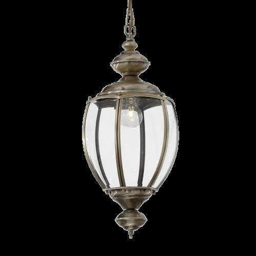 Ideal Lux 005911 Norma Single Light Indoor Hanging Lantern Pendant Burnished Frame