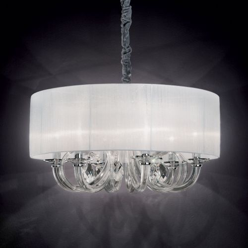 Ideal Lux 035826 Swan Crystal 6 Light Pendant White Shade Chrome Frame