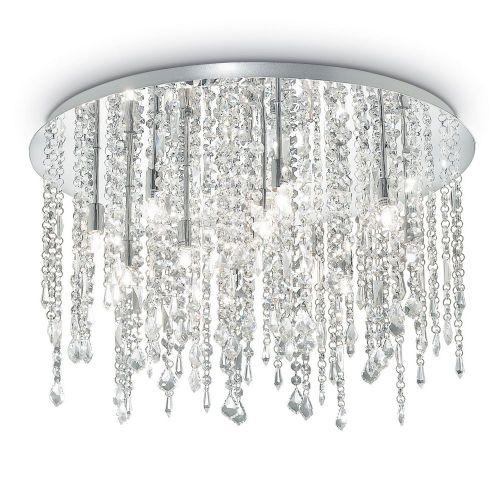 Ideal Lux Royal 053004 Crystal Ceiling Flush 12 Light Chrome