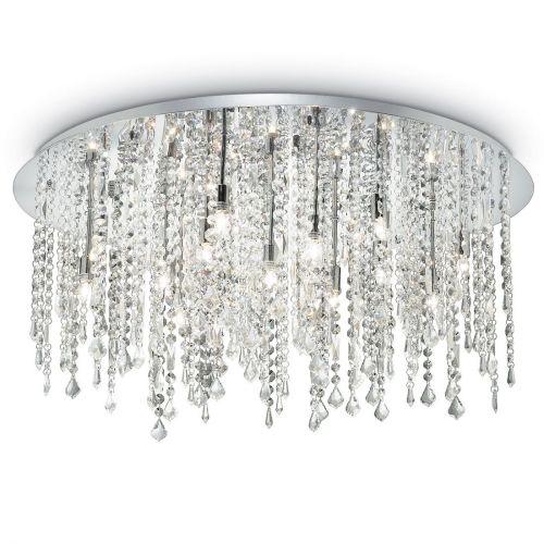 Ideal Lux Royal 053011 Crystal Ceiling Flush 15 Light Chrome