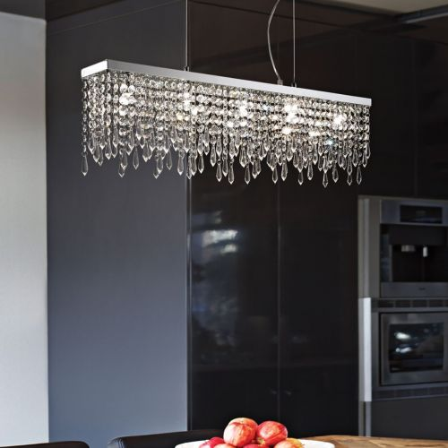 Ideal Lux Giada Ceiling Bar Pendant 7 x G9 Chrome Crystal 098739