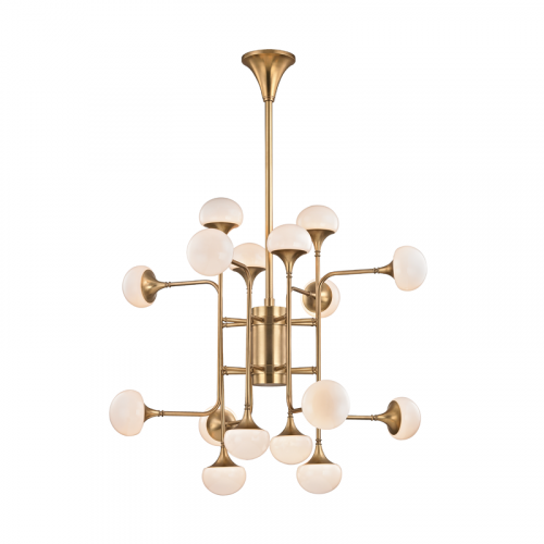 Hudson Valley Fleming Multi-Arm Chandelier 16 x G9 Aged Brass 4716-AGB-CE