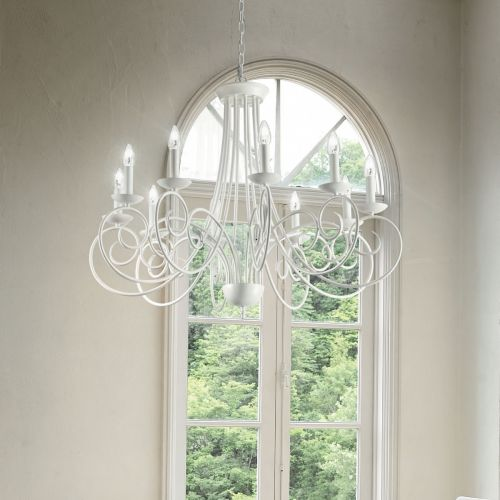 Ideal Lux 100432 Sem 10 Light Chandelier White Frame