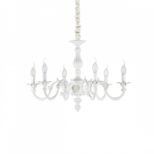 Ideal Lux 197500 Justine 6 Light Chandelier White Frame