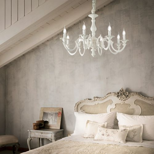 Ideal Lux 197524 Justine 8 Light Chandelier White Frame