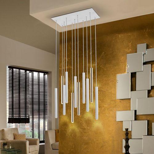 Schuller Varas 373342 LED 11 Light Gold Ceiling Pendant White Frame