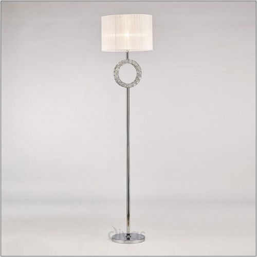 Diyas IL31535 Florence Round Floor Lamp White Shade 1 Light Polished Chrome Crystal