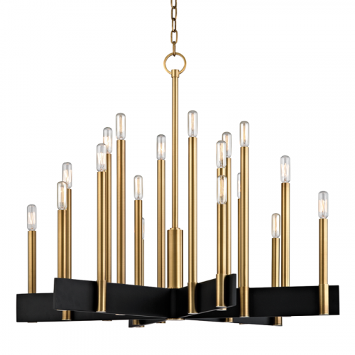 Hudson Valley Abrams Ceiling Large Pendant 18 x E14 Aged Brass 8834-AGB-CE
