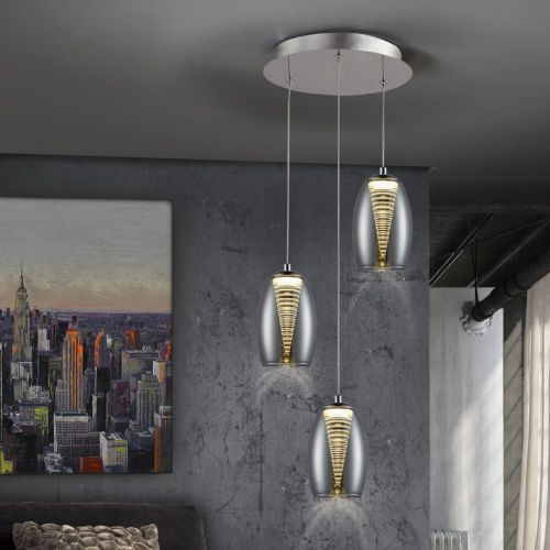 Schuller Nebula 584326 LED Ceiling Pendant 3 Light Chrome