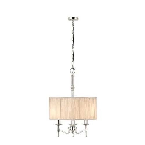 Interiors 1900 63636 Stanford 3Lt Nickel Ceiling Pendant with Beige Shade