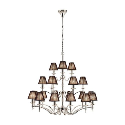 Interiors 1900 63639 Stanford 21Lt Polished Nickel Ceiling Chandelier with Black Shades