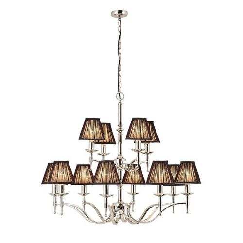 Interiors 1900 63641 Stanford 12Lt Nickel Ceiling Chandelier With Black Shades