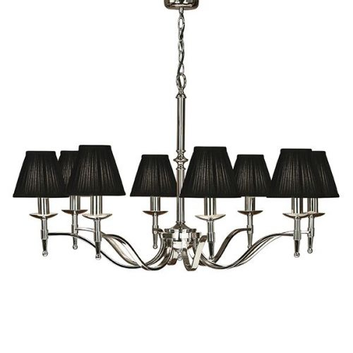 Interiors 1900 63642 Stanford 8Lt Nickel Ceiling Pendant with Black Shades