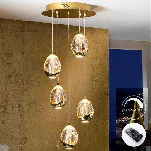 Schuller Rocio 783529D LED Ceiling Pendant 5 Light Gold
