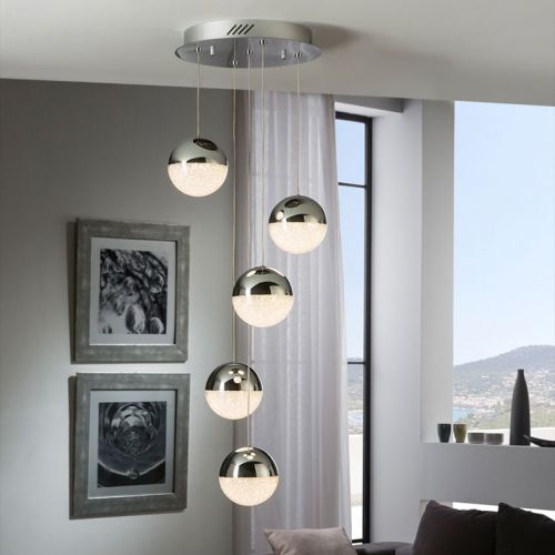 Schuller Sphere 793523 LED 5 Light Ceiling Spiral Pendant 1.2 Metre Drop Chrome