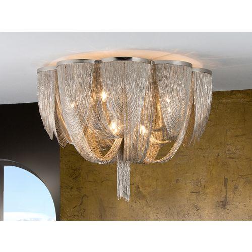 Schuller Minerva 872469 10 Light Ceiling Flush Fitting Nickel Frame