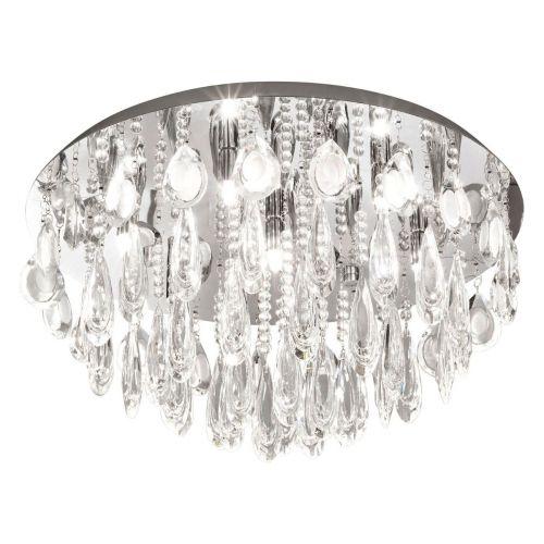 Eglo Calaonda 93413 Small Crystal Ceiling Flush 7 Light Polished Chrome