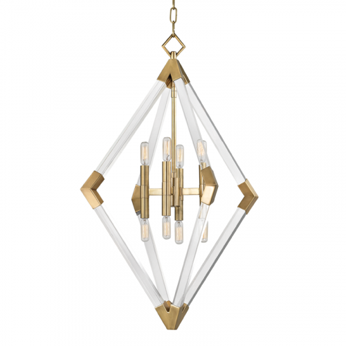 Hudson Valley Lyons Large Pendant 8 x E14 Aged Brass 4623-AGB-CE