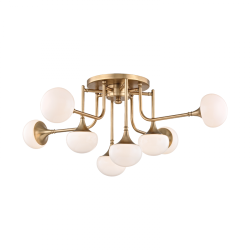 Hudson Valley Fleming Ceiling Semi Flush 8 x G9 Aged Brass 4708-AGB-CE
