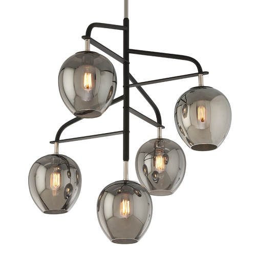 Troy Odyssey Ceiling Large Multi-Arm Pendant 5 x E27 Carbide Black F4297-CE
