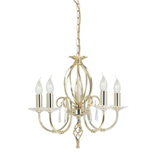 Elstead Aegean AG5 POL BRASS 5 Lt Ceiling Fitting Glass Droplets And Sconces