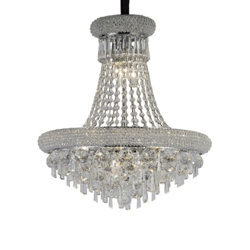 Diyas IL31450 Alexandra Crystal Pendant 9 Light Polished Chrome Frame