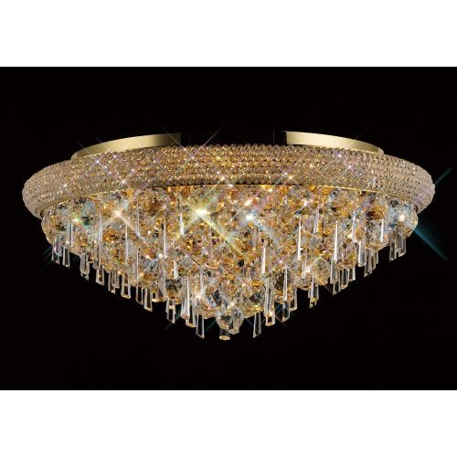Diyas IL32107 Alexandra Crystal 9 Light Flush Ceiling Fitting French Gold Frame