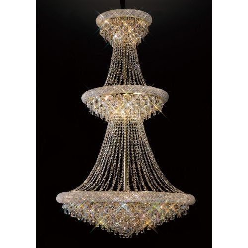 Diyas IL32115 Alexandra Crystal 37 Light 3 Tier Pendant French Gold Frame