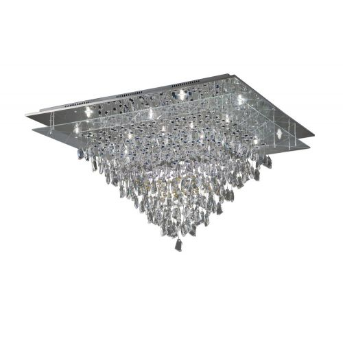 Diyas IL31340 Amaris Crystal 14 Light Flush Ceiling Fitting Polished Chrome Frame