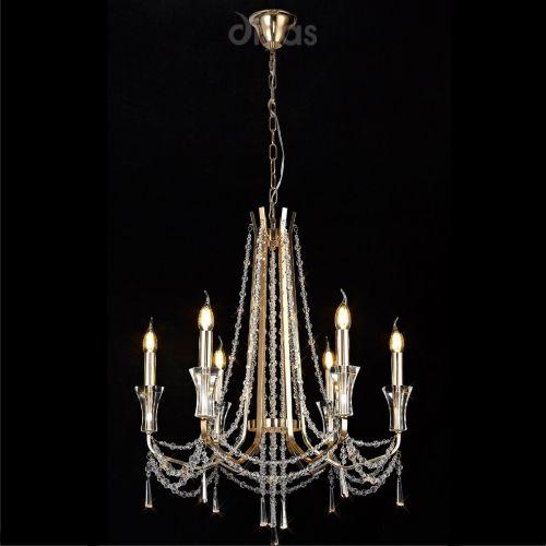 Diyas IL31753 Armand Crystal 6 Light Pendant French Gold Frame