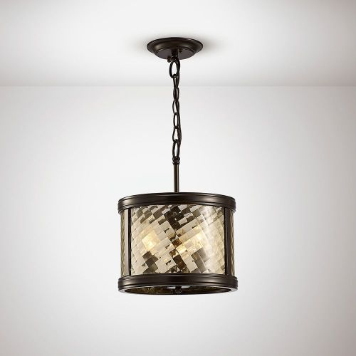 Diyas IL31676 Asia Pendant Semi Ceiling Convertible 3 Light E14 Oiled Bronze Clear Glass