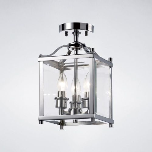 Diyas IL31100 Aston Semi Flush 3 Light Ceiling Lantern Polished Chrome Frame