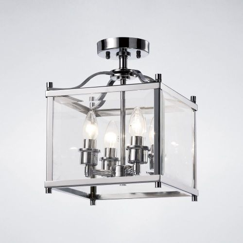Diyas IL31101 Aston Semi Flush 4 Light Ceiling Lantern Polished Chrome Frame