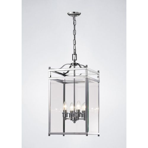 Diyas IL31103 Aston Pendant 4 Light Ceiling Lantern Polished Chrome Frame