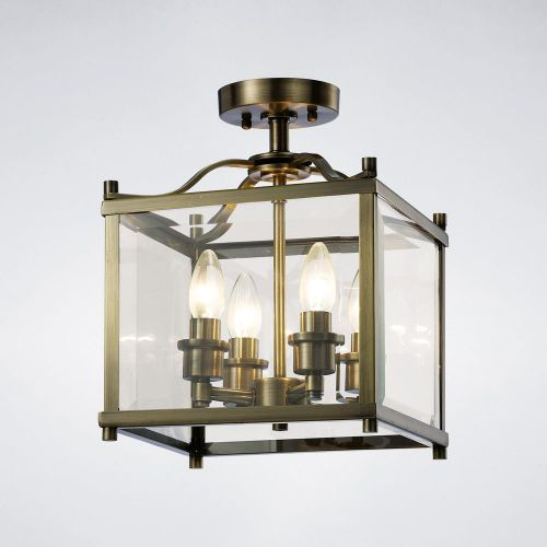 Diyas IL31111 Aston Semi Flush 4 Light Ceiling Lantern Antique Brass Frame