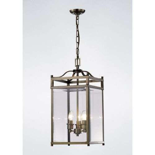 Diyas IL31112 Aston Pendant 3 Light Ceiling Lantern Antique Brass Frame