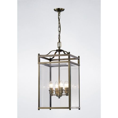 Diyas IL31113 Aston Pendant 4 Light Ceiling Lantern Antique Brass Frame