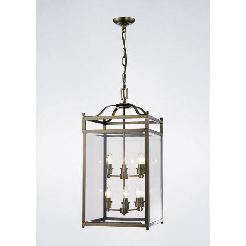 Diyas IL31114 Aston Pendant 6 Light Ceiling Lantern Antique Brass Frame