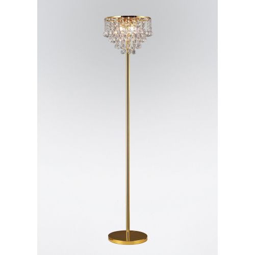 Diyas IL30032 Atla Crystal 4 Light Floor Lamp French Gold Frame